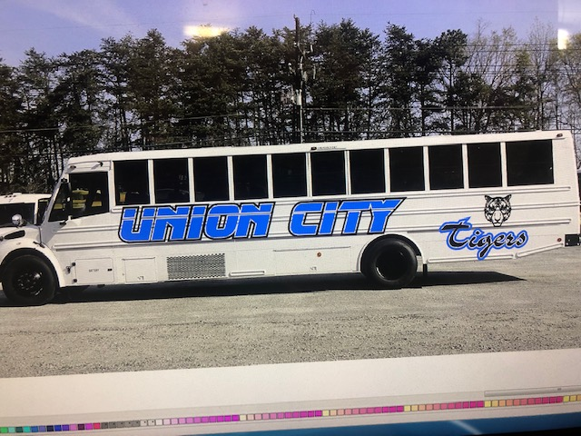 School bus with Union City written on side of bus