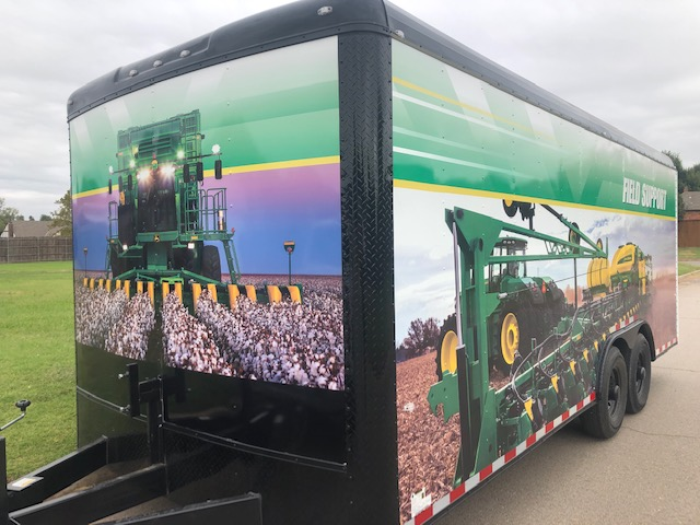 Trailer with farm equipment picture wrap